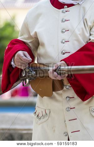 Royal Guardsman during the re-enactment of the War of Succession. September 4, 2010 in Brihuega, Spain
