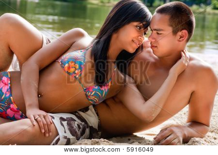 Beach Couple In Love