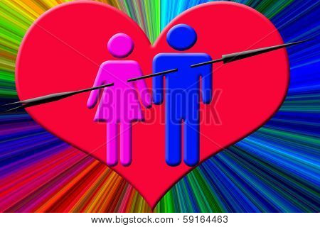 valentines couple with arrow