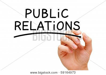 Hand writing Public Relations with black marker on transparent wipe board. poster