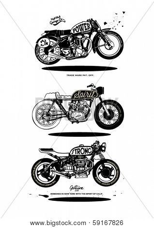 illustration sketch motorcycle with wording