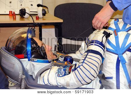 Don Pettit During Space Suit Leak Check