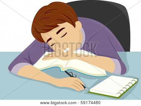 Illustration of a Guy Dozing Off to Sleep While Studying