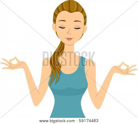 Illustration of a Girl Doing Some Yoga Exercises