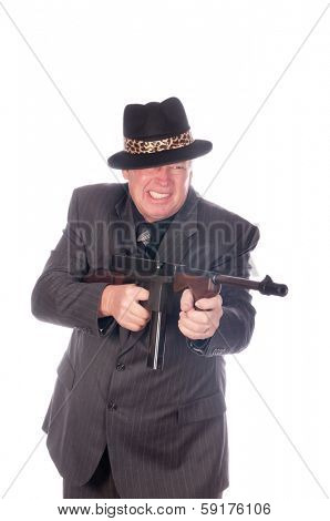 Gangster with sub-machine gun isolated on white