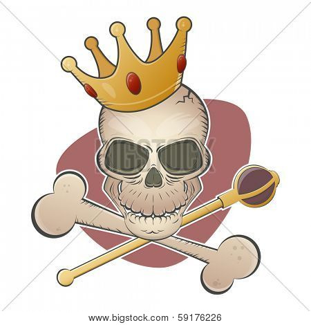 creepy skull with crown and scepter