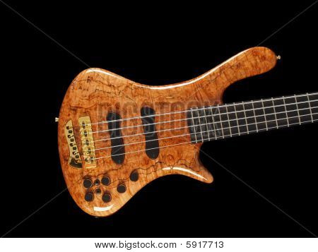 Curved Patterned Wood Bass Guitar Body On Black