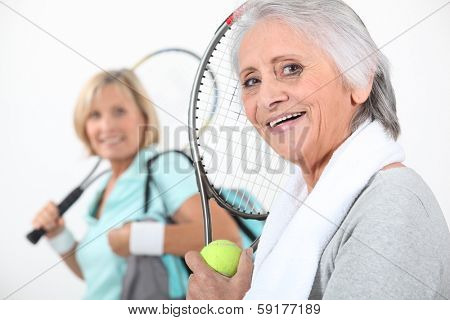 Women going to play tennis poster