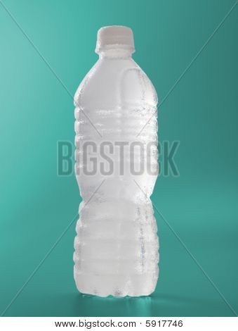 Frosted Water Bottle On Green