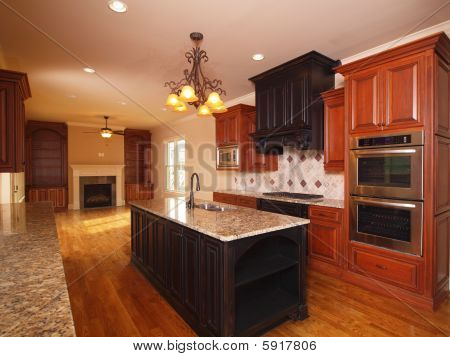 Luxury Home Extended Kitchen With Fireplace