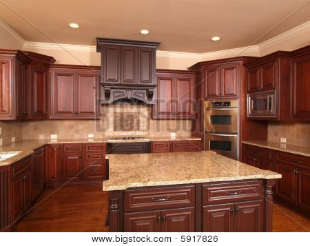 Luxury Home Kitchen Front Center Island