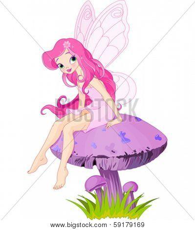 Pink fairy elf sitting on mushroom