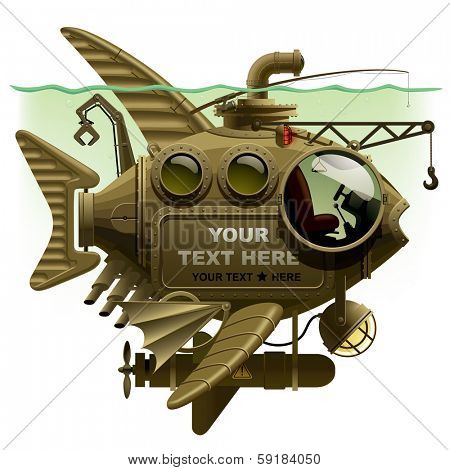 Vector isolated image of the complex fantastic submarine in the form of fish with machinery, equipment and armament