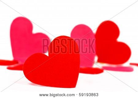 Many colored heart shapes for Valentines day