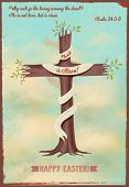 Religious Easter Poster - Vintage style religious Easter poster, with cross-shaped sprouting tree, quotation from Gospels and Easter greeting, against the bright blue sky poster