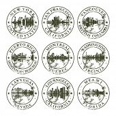 Grunge rubber stamps with New York, San Francisco, Vancouver, Puerto Rico, Montreal, Washington, Las Vegas, Los Angeles and Miami - vector illustration poster