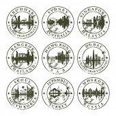 Grunge rubber stamps with Abu Dhabi, Sydney, Singapore, Bangkok, Hong Kong, Dubai, Seoul, Istambul and Moskow - vector illustration poster