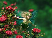 3d computer graphics of a flying fairy with blond hair and butterfly wings poster