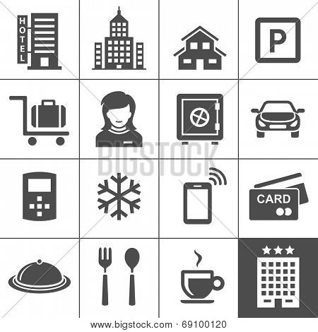 Hotel icon set. Vector icons for hotel booking and reservations app. Simplus series