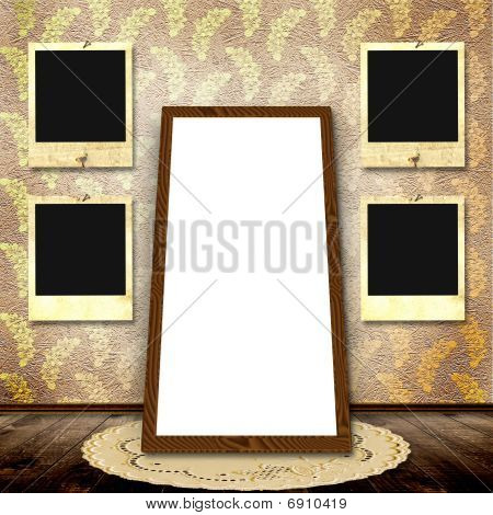 The Vintage Background With Frames For Photo.