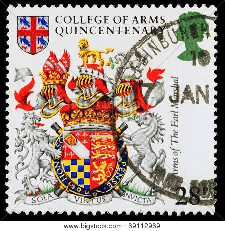 Britain College Of Arms Postage Stamp