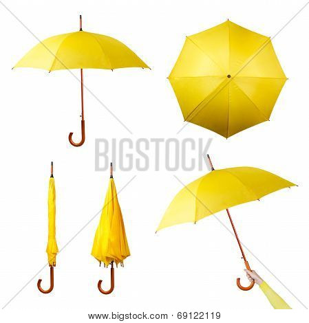 Set of yellow umbrellas isolated on a white background
