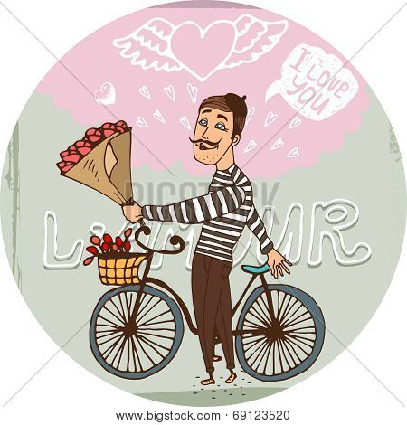 Amorous Frenchman on a bicycle with red roses