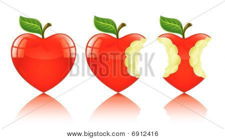Red Apple In Form Of Love Heart