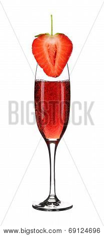Glass of champagne with strawberry.