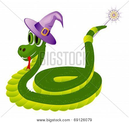 Illustration of positive green snake with the magic wand isolated on the white background poster