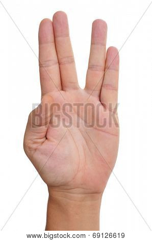 a man hand doing the Vulcan salute on a white background