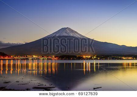 Mt. Fuji, Japan viewed from Lake Kawaguchi at dusk.