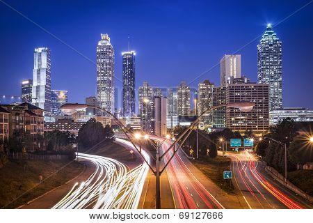 Atlanta, Georgia, USA skyline at night.