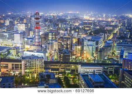 Sendai, Japan cityscape over Sendai Station.