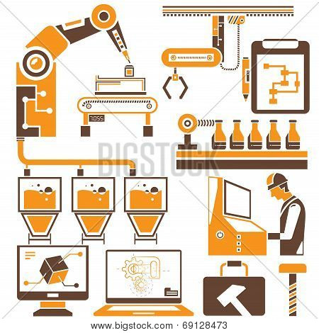 manufacturing and production line icons