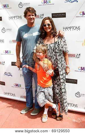 BRIDGEHAMPTON, NY-JUL 19: (L-R) Nick Manifold, Lukas Rector and Kelly Klein attend the 6th Annual Family Fair at Children's Museum of the East End (CMEE) on July 19, 2014 in Bridgehampton, New York.
