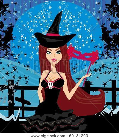 Woman Dressed As A Witch
