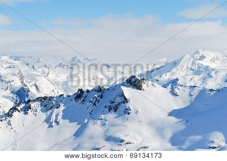 Skiing Tracks On Mountain Slopes In Paradiski Region