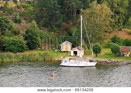 Small Swedish Village On Sea
