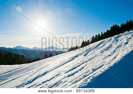 Cold Snow Ski Slope On Alps Mountain, France