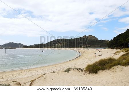 sand beach on Cies Islands (illas cies) - Galicia National Park in Atlantic Ocean Spain poster