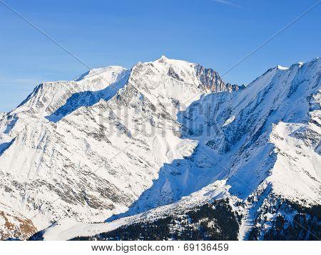 snow-covered MontBlanc area in Alps in Portes du Soleil region Evasion - Mont Blanc France poster