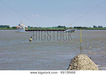 General cargo ship on River Weser near Nordenham
