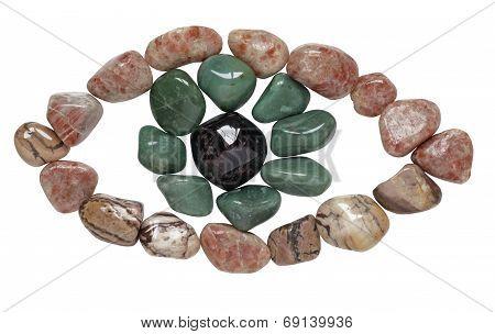 Eye shaped from tumbled stones