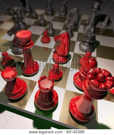 Strategy Chess Game requires strategic decision-making, concentration, tactics, and evaluation are great for enhancing business and marketing skill. In this picture  the pieces is metallic black and red pieces instead the usual black and white. poster