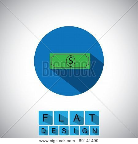 Flat Design Icon Of Dollar Note Or Greenback - Vector Graphic