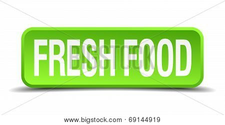Fresh Food Green 3D Realistic Square Isolated Button