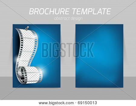 Film reel on blue soft background for cinema flyer template design poster