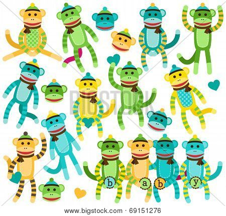 Collection of Gender Neutral Sock Monkey Vectors poster