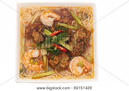 Bun Tom Cha Muc,  Rice Vermicelli Soup, Served With Shrimp Broth And Topped Withshimps And Fried Squ